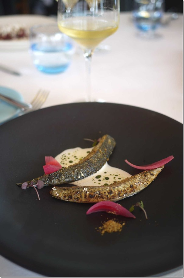 Blue mackerel, buttermilk, mussel powder and pickled onion