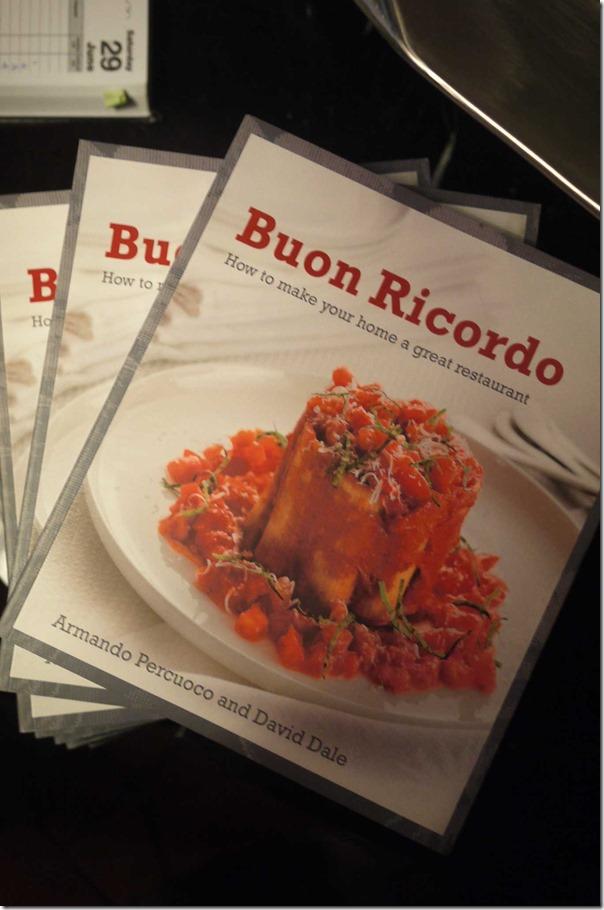 Cookbook by Armando Percuoco of Buon Ricordo