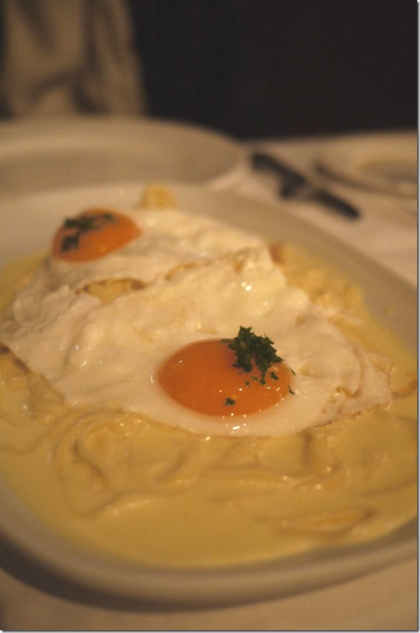 Signature dish: Fettuccine, cream and parmesan, topped with fried truffle egg