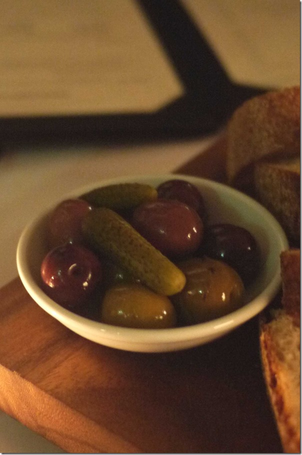 Olives and pickled gherkin