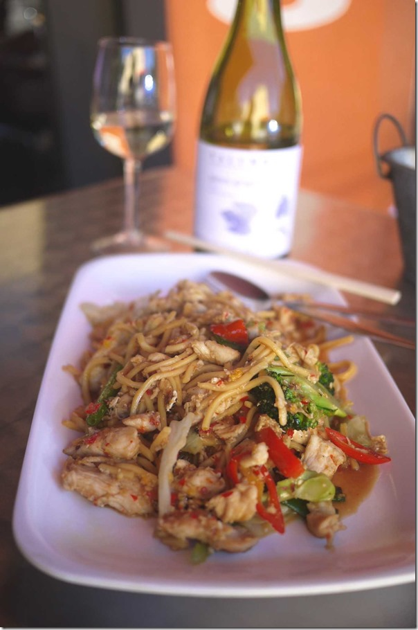 Stir fried egg noodles with chicken (with added egg $1 extra) at The Thai $12.50