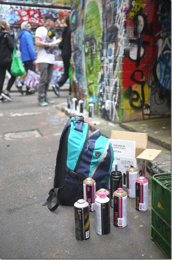 Tools of the trade for street art at Hosier Lane (off Flinders street), Melbourne