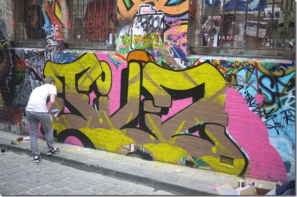 Street artist at work, Hosier Lane, Melbourne