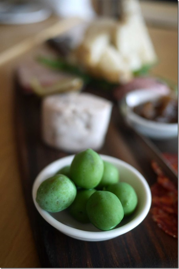 Green olives on Charcuterie Platter