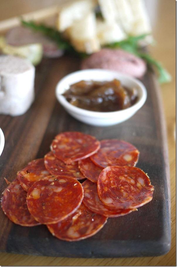 Chorizo slices on Charcuterie Platter