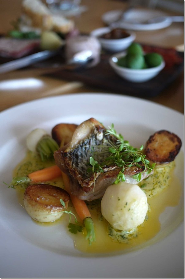 Pan roasted snapper fillet, dill butter sauce with Dutch carrots, roast potatoes and chervil $32
