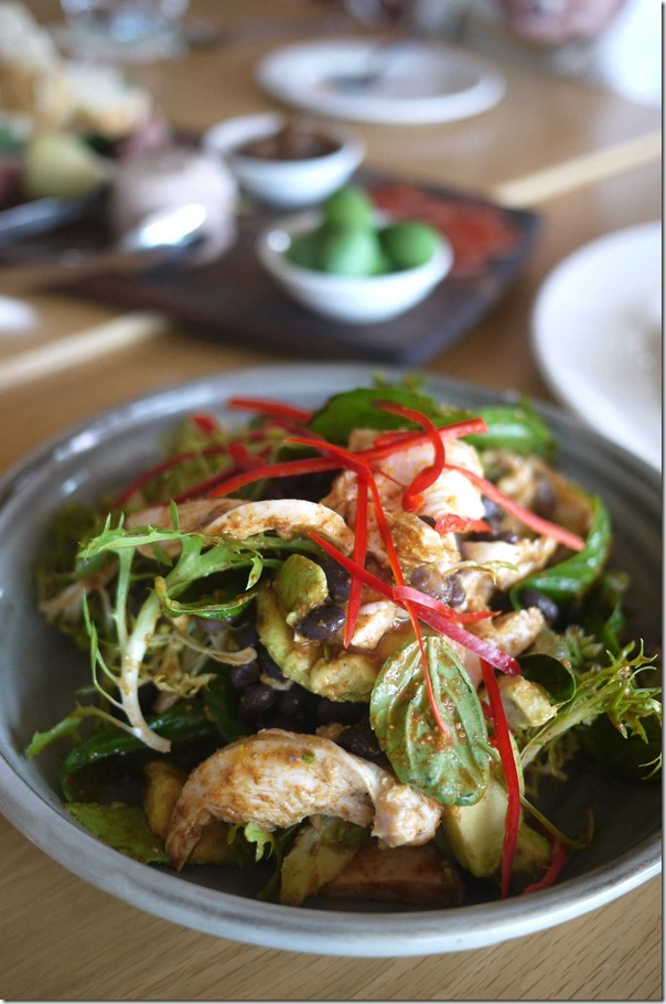 Chicken, avocado, black turtle bean and basil salad with lemon and chilli dressing $18