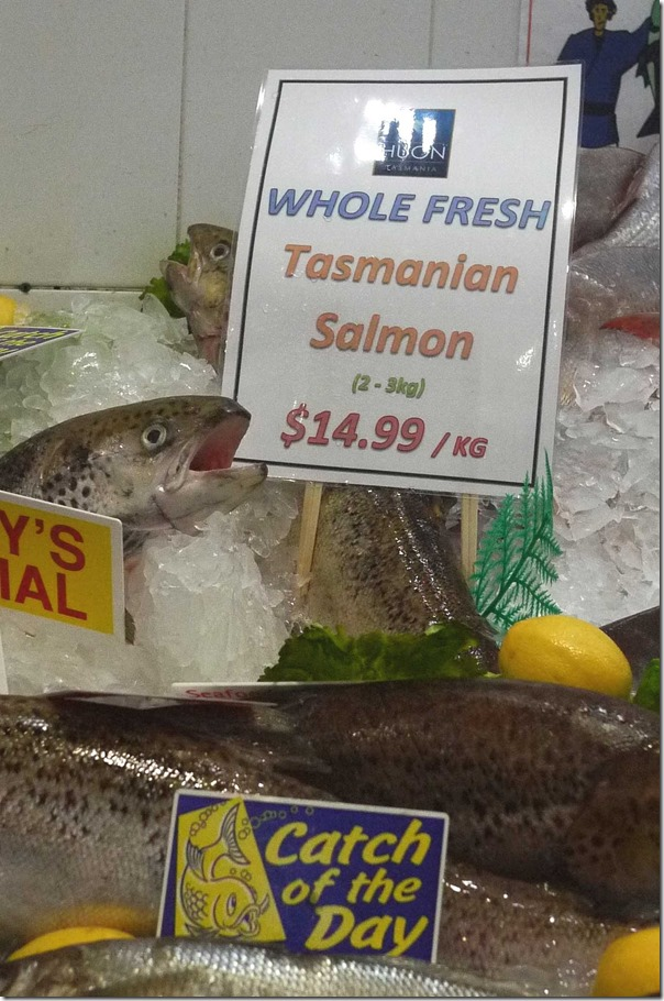 Whole Tasmanian salmon $14.99/kg