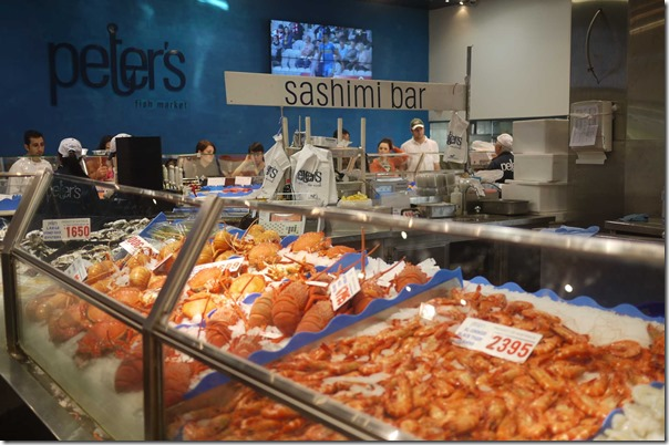 Prawn counter and sashimi bar, Peter's Seafoods