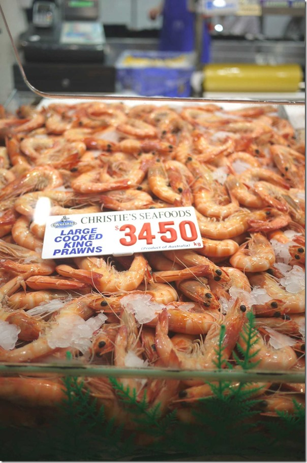 Large cooked king prawns $34.50/kg