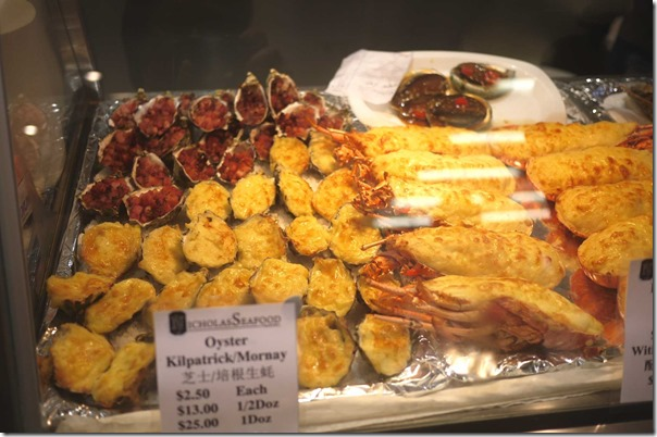 Oyster Kilpatrick and oyster mornay $2.50each, $13 per half dozen $25 per dozen