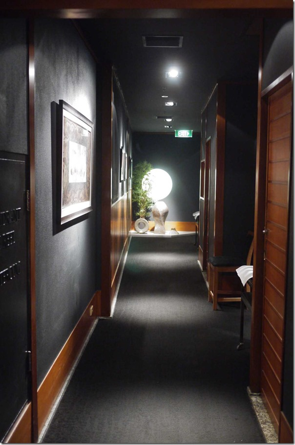Corridor towards private dining rooms at Azuma, Sydney