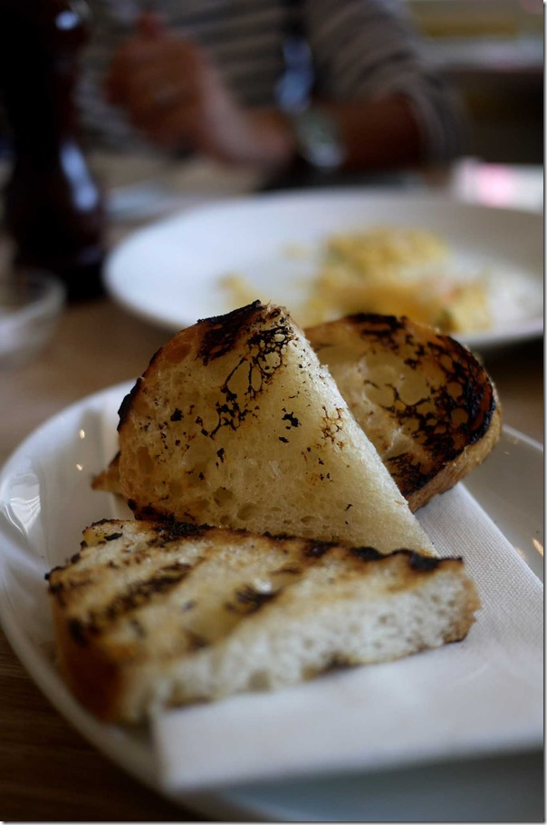 Toast: Smoky, crisp yet soft ~ where the butter??