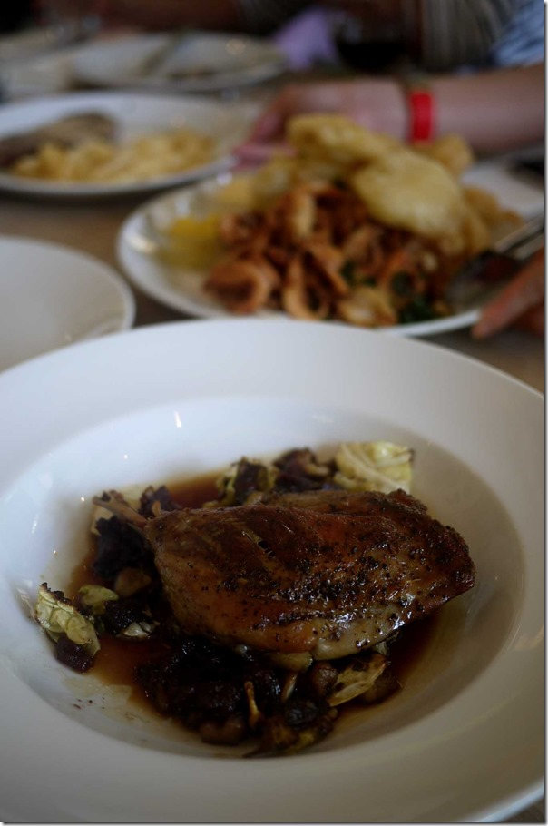 Duck confit with cabbage, chestnuts and quince $29