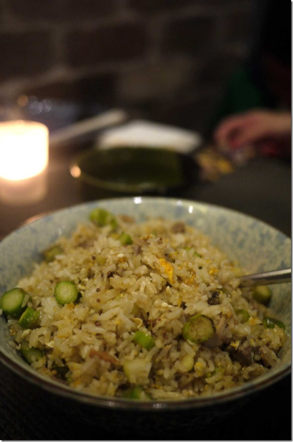 Lotus fried rice with duck and asparagus in mustard flavour (small $16 large $22)
