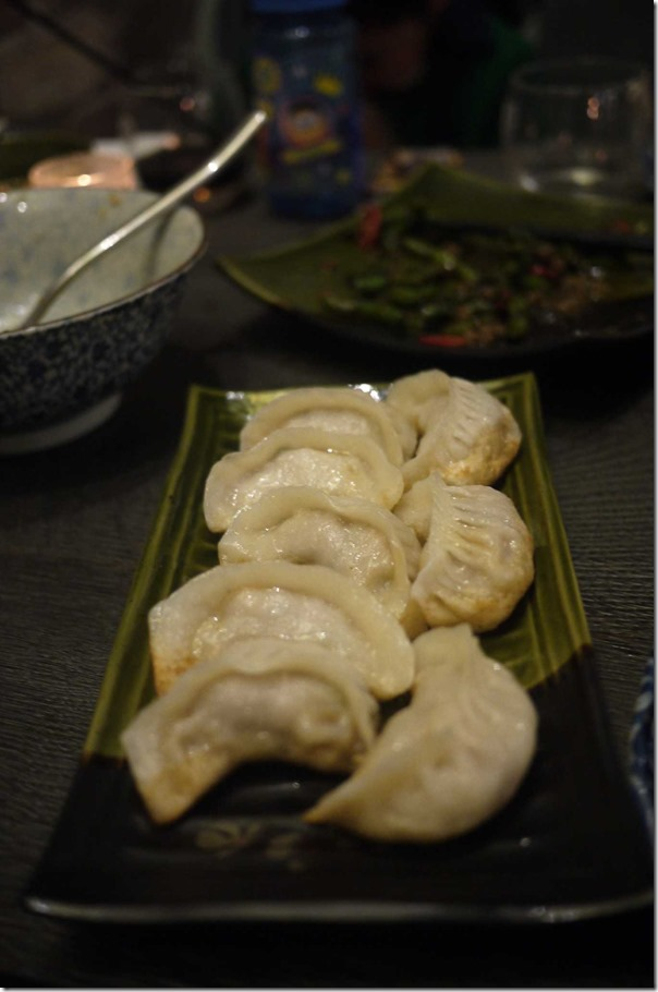 Pan fried prawn, pork and zucchini potstickers (4 pieces $12.80)