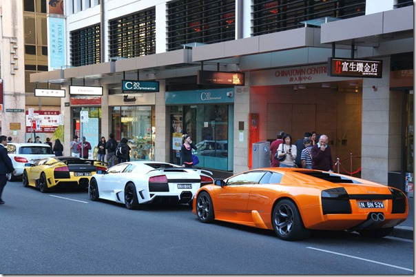 Making a statement ~ Lamborghinis at the opening of WAITAN at Haymarket Chinatown