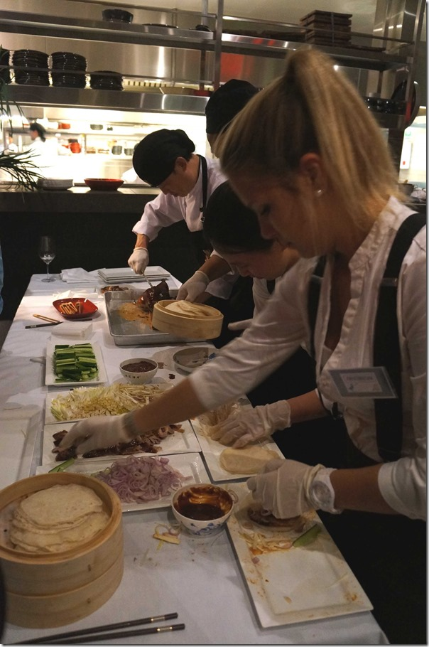 Preparing Peking duck pancakes