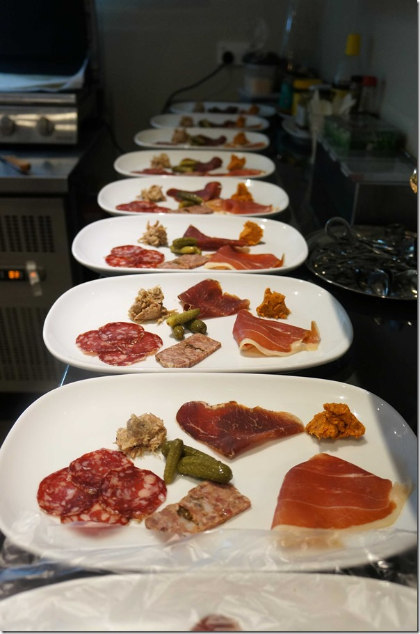 Charcuterie platters in the kitchen