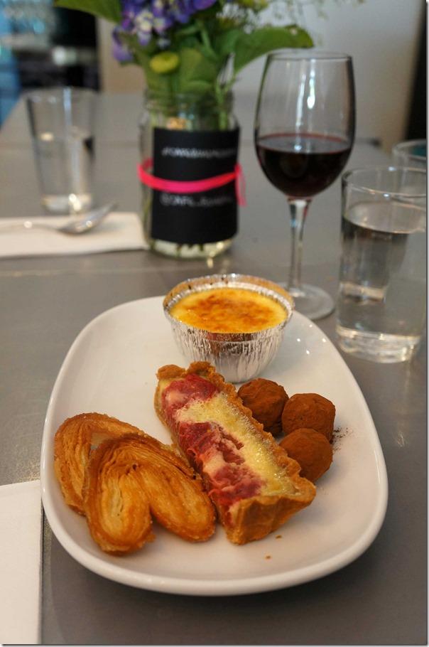 Parisian Pamiers, Creme Brulee, rhubarb & frangipani tart and chocolates