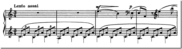 Opening passage: Rachmaninoff's Etude Tableaux Op. 39 No. 2 in A minor