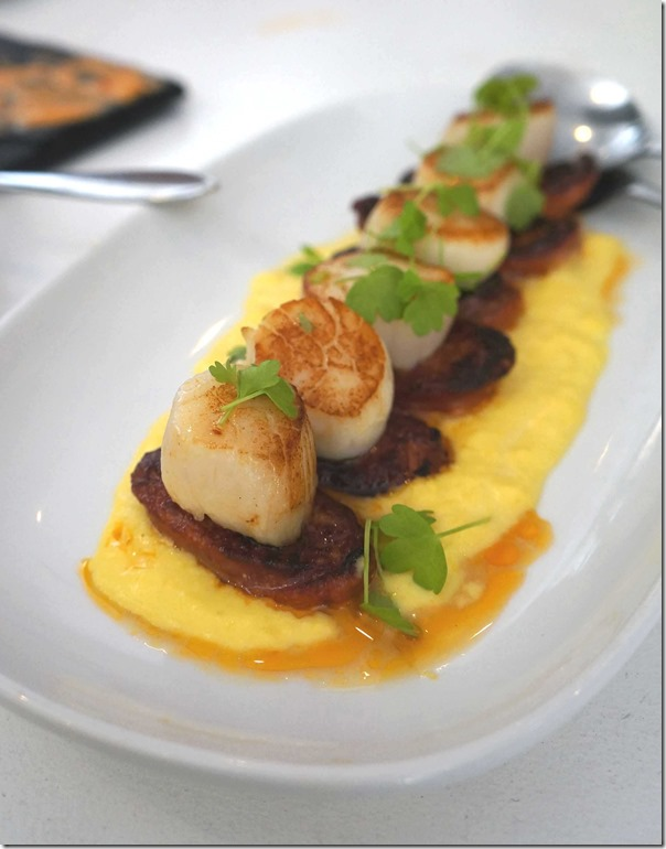 Pan-seared Queensland scallops, chorizo and sweet corn puree (4) $22