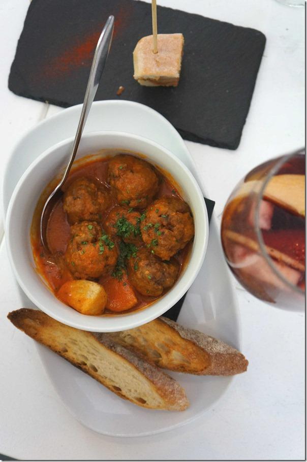 Veal, ricotta and pinenut meatballs, tomato frito, patatas $14