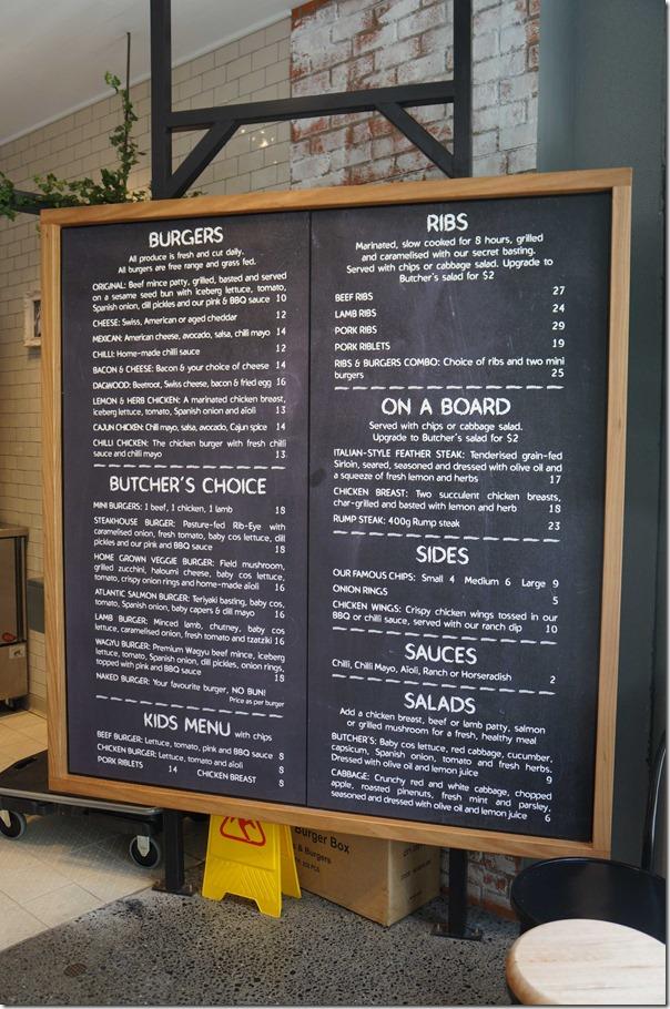 Blackboard menu, Ribs & Burgers, Rhodes