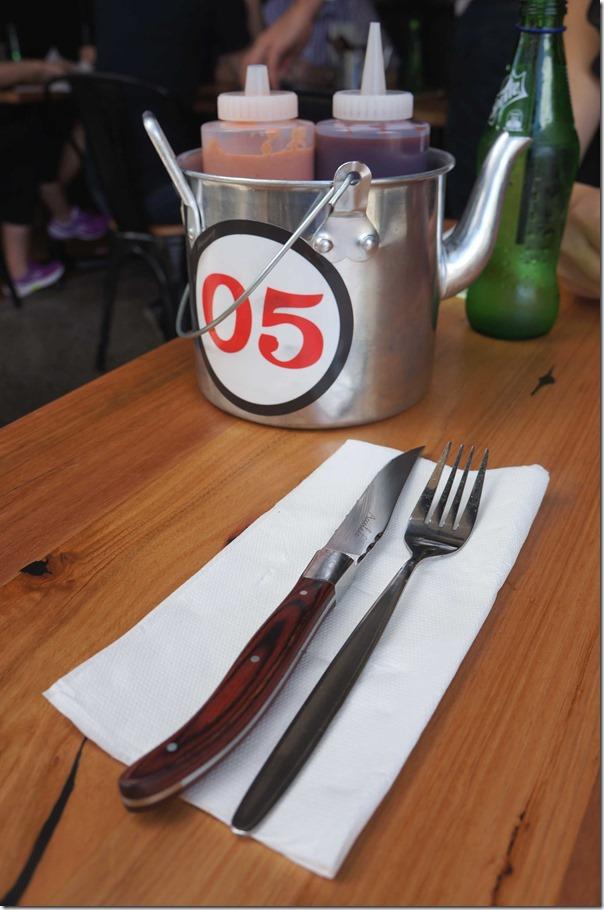 'Pail teapot holder', Ribs & Burgers, Rhodes