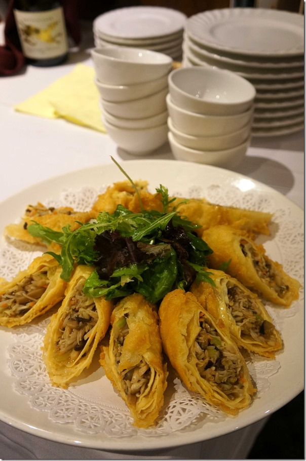 Crispy spring rolls with mushroom, water chestnuts and beansprouts $30