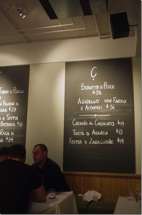 Blackboard special, A Tavola, Bondi, Sydney
