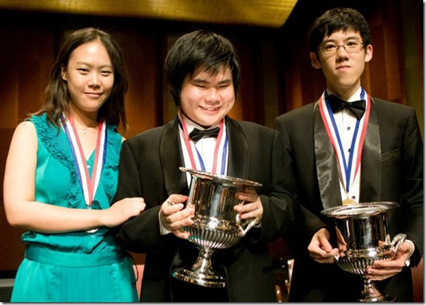 Winners: Silver medalist Yeol Eum Son with  joint gold medalists Nobuyuki Tsujii and Haochen Zhang (Photo credit: Van Cliburn Foundation &Altré MEDIA)
