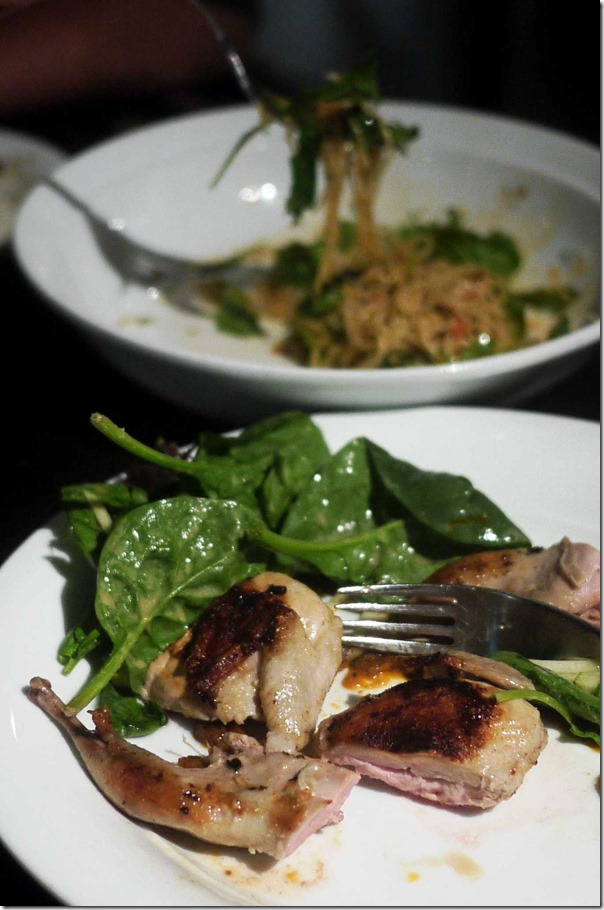 Barbeque free-range quail, spinach, apple salad and bois boudran sauce $21