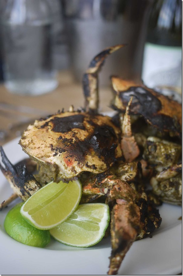 Grilled local sand crabs, green chilli condiment $34