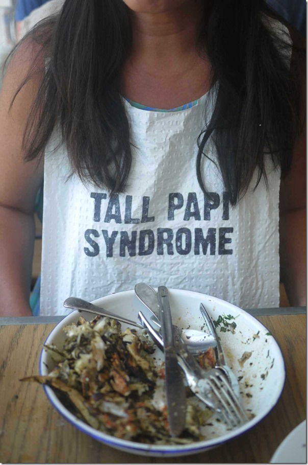 Mysaucepan wearing her 'Tall Papi Syndrome' bib