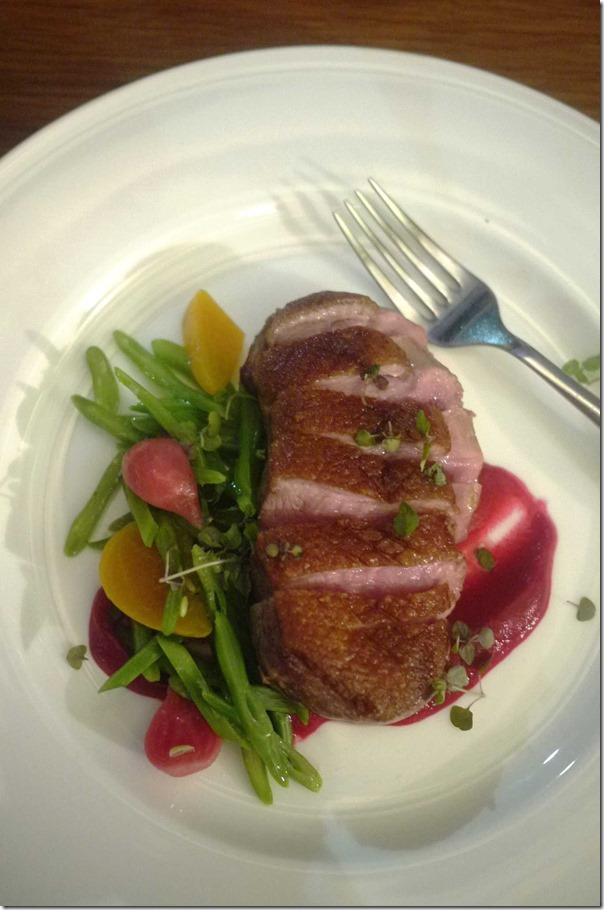 "Duck breast with shaved ""asparagus"" and beetroot $42"