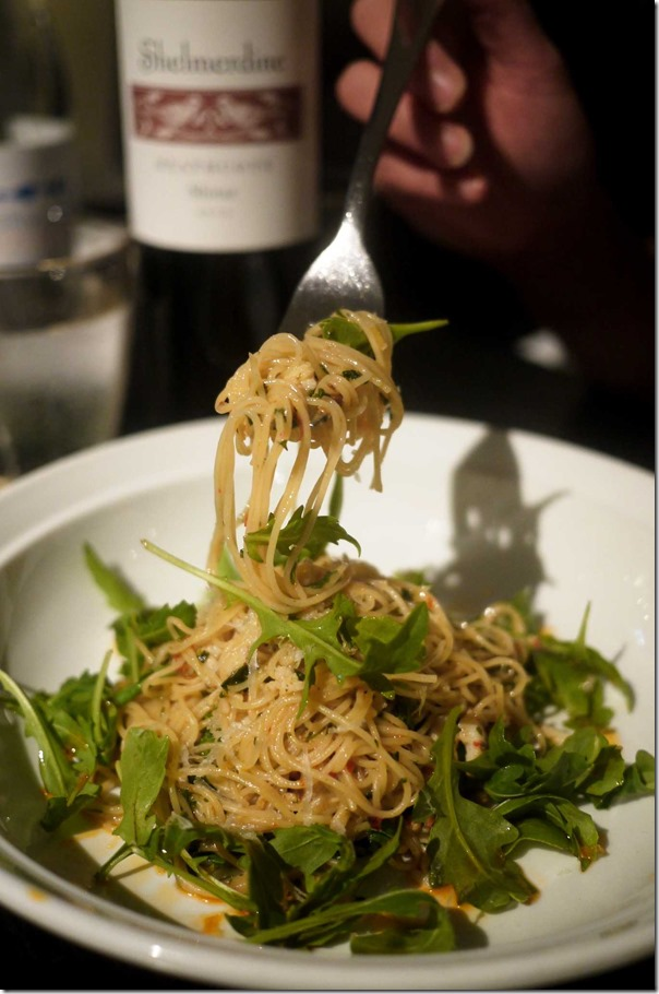 Angel hair pasta, blue swimmer crab, chilli and rocket $19