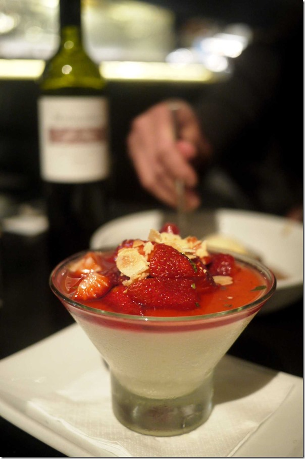 Citrus panna cotta, basil, strawberries and candied almonds $12