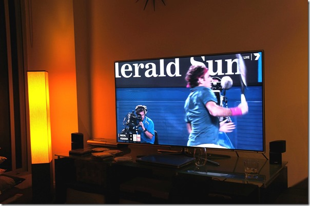 Tennis action on TV
