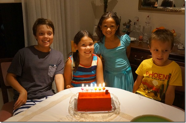 Mia celebrating birthday with her friends