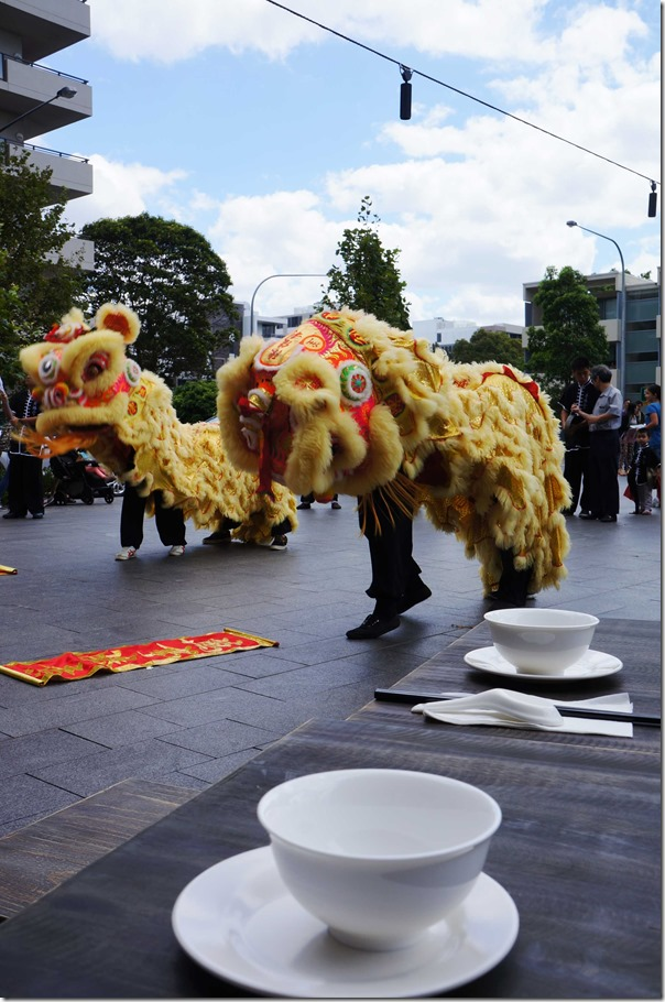 Lion Dance at opening ceremony of Dainty Dumpling House, Rhodes