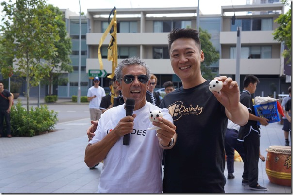 Mayor of City of Canada Bay Council, Angelo Tserikas with owner Marko Li