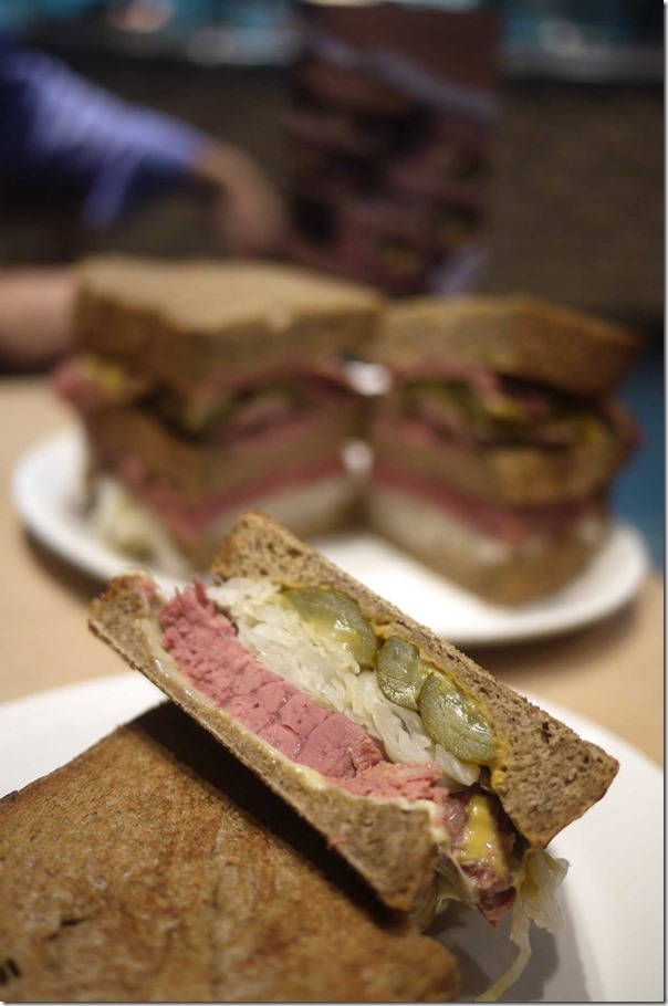 Toasted Reuben sandwich with corned wagyu silverside, pickles and sauerkraut