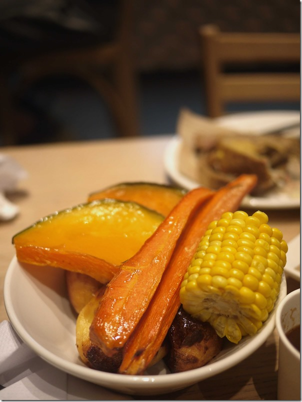 Roasted pumpkin, carrots, corn and potatoes