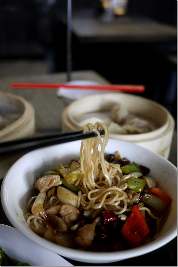 Sweet and tangy diced chilli chicken noodles $9.80