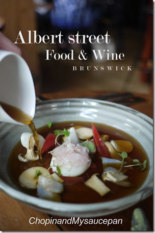 Chicken & mushroom consomme with abalone & 63 degrees C hen's egg
