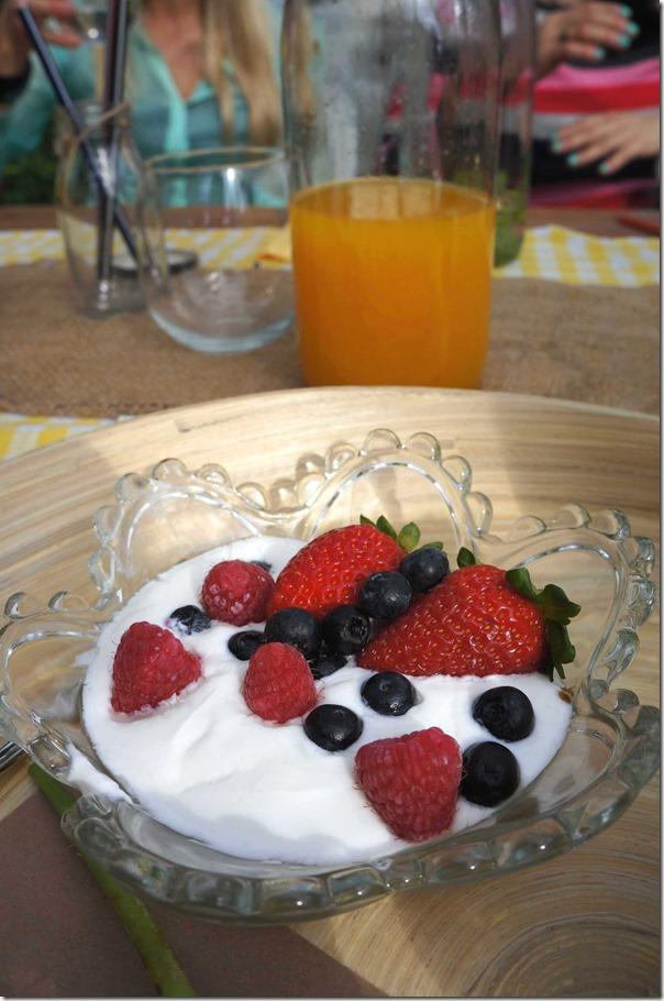 Vanilla yoghurt with strawberries and blueberries