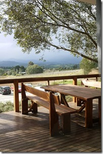 Wooden deck at Coldstream Hills winery