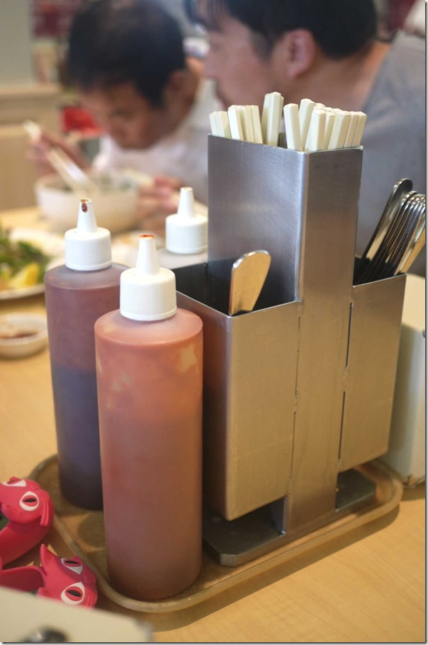 Condiments and chopsticks station