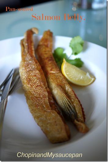 Pan-seared salmon belly